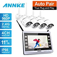 ANNKE 1080P Wi-Fi NVR with 11 Monitor Screen Built-in wireless Security System and (4) 1.3MP 1080x960 IP Cameras, Smart Motion Detection and Email Alert NO HDD
