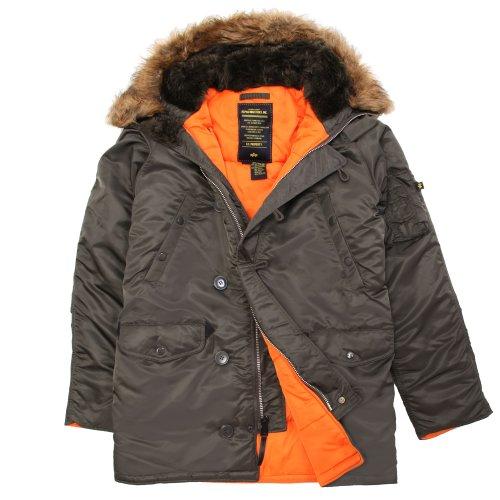 Alpha Industries Men's N-3B Slim-Fit Parka Jacket with Removable Faux-Fur Hood Trim, Replica Gray/Orange, Medium