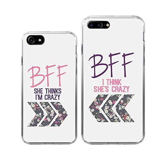 amazon com iphone 7 7plus couple case ttott 2x floral best friendiphone 7 7plus couple case ttott 2x floral best friend bff new fashion matching