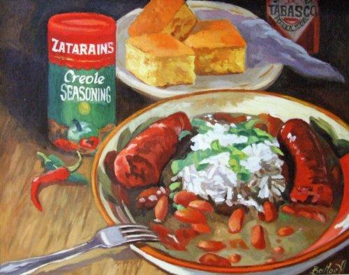 Red Beans and Rice Zatarains New Orleans Baltas Matted Art Print