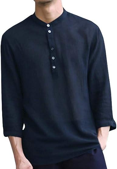 JURTEE Camisa para Hombre Algodón Y Lino Cuello En V Sólido De Color Remera Manga Larga Blusa con Botones Cómodo Top: Amazon.es: Ropa y accesorios