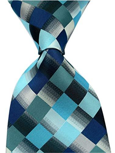 Dress Tie Modern (Elfeves Men's Classic Designer Plaid Ties Checks Patchwork Necktie Teal Blue)
