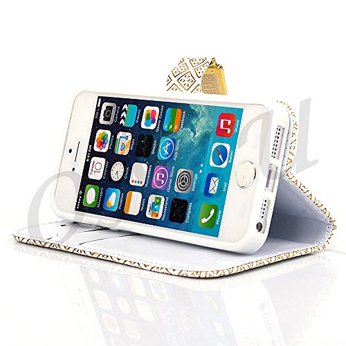 iPhone 5S Case, iPhone 5 Case, OMIU(TM) Popular Luxury Wallet Case for iPhone 5S, Protective Leather Flip Cover Case with Wrist Strap Slim Fit for Apple iPhone 5S, iPhone 5 (Free Screen Protector, Stylus and Cleaning Cloth) - White