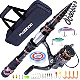 PLUSINNO Fishing Rod and Reel Combos, Toray 24-Ton Carbon Matrix Telescopic Fishing Rod Pole, 12 +1 Shielded Bearings Stainless Steel BB Spinning Reel, Saltwater and Freshwater Fishing Gear Kit 5.91FT