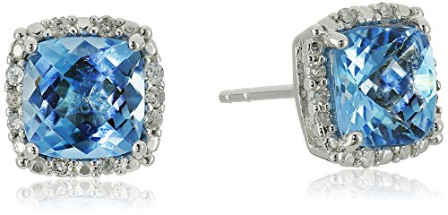 Gold Genuine Swiss (10k White Gold Genuine Swiss Blue Topaz and Diamond Halo Stud Earrings (1/10 cttw, I-J Color, I2-I3 Clarity))