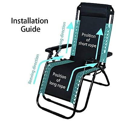 4 Ropes Elastic Cord for Recliner Chairs Zero Gravity Garden Sun Universal Black: Kitchen & Dining