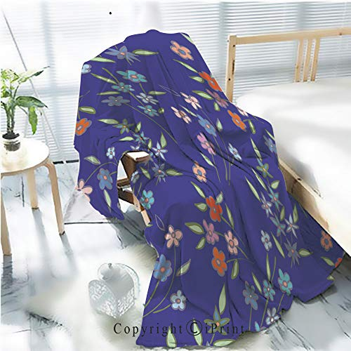 Printed Throw Blanket Smooth and Soft Blanket,Floral seamless background pattern spring summer season Vector illustration for textile wrapping paper wallpaper urtains 2 For Sofa Chair Bed Office Tra