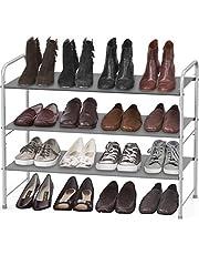 SimpleHouseware 3-Tier Shoe Rack Storage Organizer, Grey