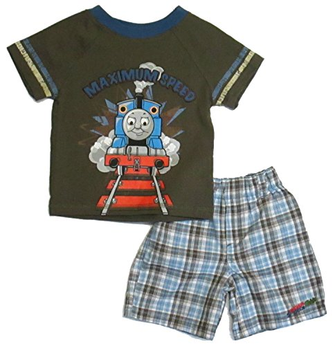 Thomas & Friends Baby Boys' Plaid Shorts 2 Piece Set 12 Months (Thomas Train Outfit)