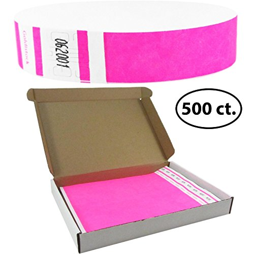 Goldistock Select Series with Box - Tyvek Wristbands Day Glow Neon Pink 500 Count - 3/4