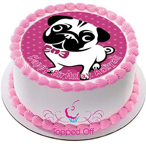 Cool Pug Dog 19 Cm Round Fondant Icing Cake Topper Amazon Co Uk Grocery Funny Birthday Cards Online Bapapcheapnameinfo