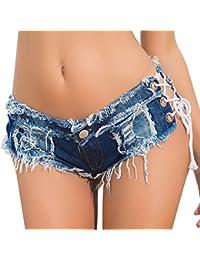 Womens Low Rise Mini Denim Shorts Denim Thong Cheeky Jeans Shorts