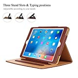Hansong Leather Folio Multiple Viewing Angles Card Pocket Stand Case for Apple iPad Air - Brown