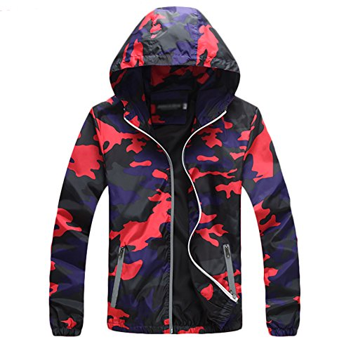 (IyMoo Men's Super Lightweight Jacket Quick Dry Windbreaker UV Protect Coat Camouflage Red Large)