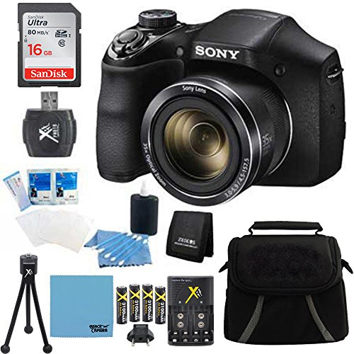 Sony DSCH300/B Digital Camera (Black) Bundle with 16GB SD Card, Rapid Multivoltage AC/DC Charger, 3100 Mah Rechargeable Batteries (Qty 4), Card Reader, Mini Tripod, Case
