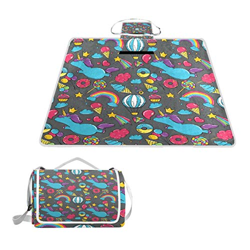 Horatiood Huberyyd Turquoise Triangle Marble Large Perfect Printing Waterproof Front Door Outdoor moisturizing pad Handbag Travel Waterproof Picnic mat