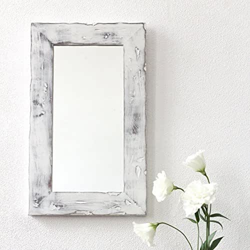 white wood bathroom mirror decorative wall mirror for rustic decor by 21644