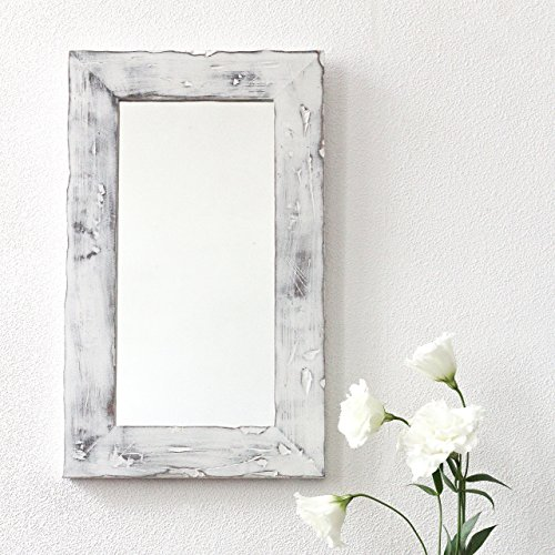 Decorative Wall Mirror for Rustic Decor by WoodenStuff Rustic Wood Framed Mirrors Reclaimed Woodwork For Your Home Decor Living Room Wooden Border in Distressed White Finish Housewarming Gift (Border Mirror White)