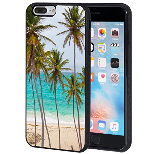 iPhone 7 Plus Case,AIRWEE Slim Anti-Scratch Shockproof Silicone TPU Back Protective Cover Case for iPhone 7 Plus 5.5 Inch,Tropical Palm Tree on Beach