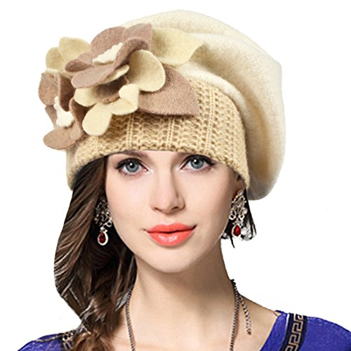VECRY Lady French Beret 100% Wool Beret Floral Dress Beanie Winter Hat (Floral-Ivory)
