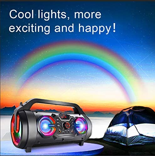 Portable Bluetooth Speakers, 30W Loud Outdoor Speakers with Subwoofer, FM Radio, RGB Colorful Lights, EQ, Stereo Sound, 10H Playtime Boombox Wireless Speaker for Home, Party, Camping, Travel 51OkG7aCAKL