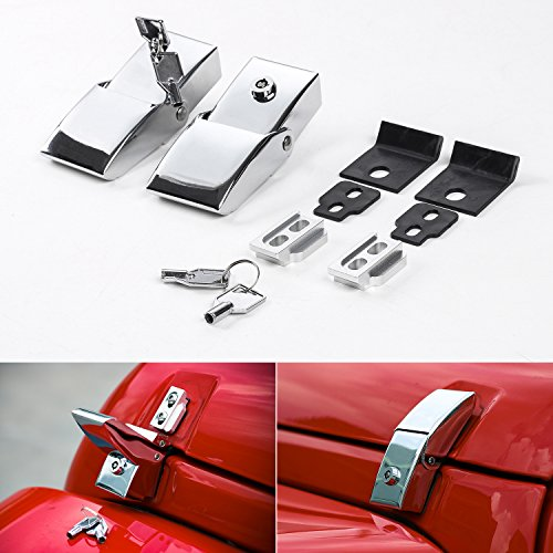 Routen Stainless Steel Hood Latches Hood Lock Catch Latches Kit for Jeep Wrangler JK 2007-2017 (Silver)