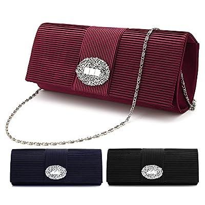 Ladies' Designer Pleated Satin Evening Bags for Women Formal Clutch Purse Stone Evening Handbag