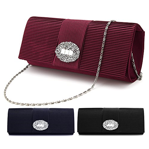 SSMY Ladies Designer Pleated Satin Evening Bags for Women Formal Clutch Purse Crystal Evening Handbag for Wedding