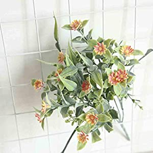 NszzJixo9 Artificial Silk Chrysanthemum Daisy Flower Bouquet Table Wedding Party Decor Small Berry with Bright Color Looks Beautiful and Sweet Hotels Workplaces Weddings Parties Garden (Orange) 48