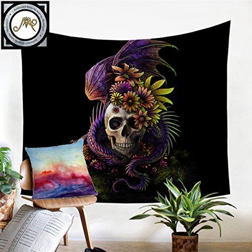 """Flowery Skull By Sunima Skull Flower Tapestry Skull Tapestry Wall Hanging Wall Blanket Wall Decor Wall Art Home Decor Wall Hanging Art (Dragon Swirls, L-60×80"""")"""