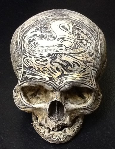 Real Human Skull Replica Carved By Zane Wylie and Cast By Chris Erney - Russian Sea Captain
