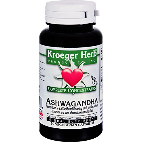 2 Pack of Kroeger Herb Ashwagandha - Complete Concentrate - 60 Vegetarian Capsules - Wheat Free -