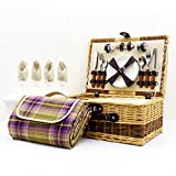 Buxton 4 Person Wicker Picnic Basket Set with Traditional Style Purple Blanket - Gift ideas for Valentines, him, her, Birthday, Wedding, Anniversary, Corporate, Business, Thank you, Outdoor, Family