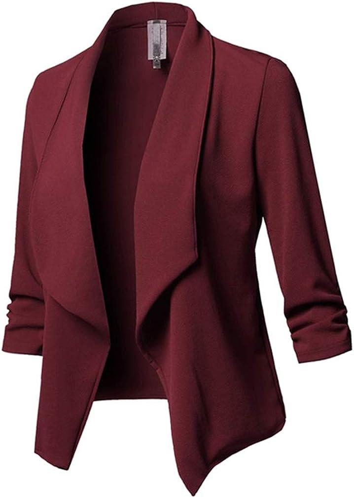 Mujeres Chaqueta De Traje Color Sólido Manga Larga Doblar Profesional Slim Fit Blazer Elegante De Oficina Blazer S - 5XL