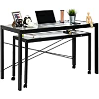 Peach Tree Home Office Computer Table Desk Workstation with Glass Top and Metal Legs, w/Wheels