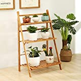 UNHO 3 Tier Bamboo Plant Stand Flower Rack Display Shelf Ladder for Indoor Outdoor 70CM