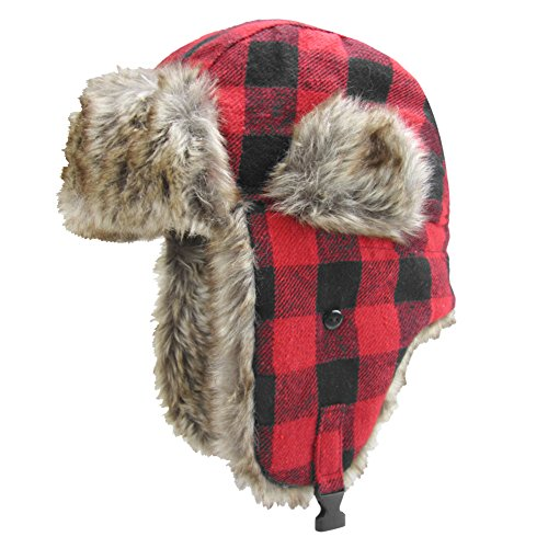 Igloos Men's Wool Blend Trapper Hat, Red Plaid, (Medium Trapper)
