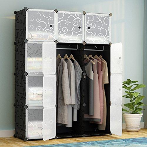 KOUSI Portable Clothes Closet Modular Plastic Wardrobe Freestanding Storage  Organizer With Doors, Large Space And Sturdy Construction, Black 12 Cube
