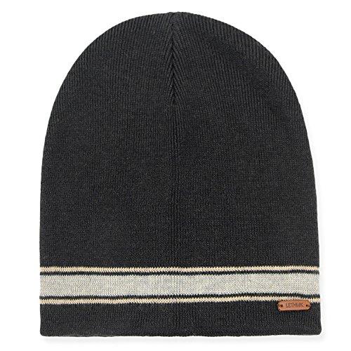Cap Mens Beanie (lethmik Merino Wool Daily Beanie,Unisex Warm Soft Winter Hat Unique Knit Skull Cap Black)