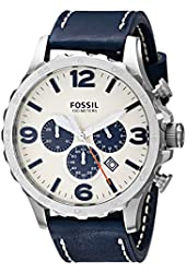 Fossil Men's JR1480 Nate Stainless Steel Chronograph Watch with Navy Leather Band