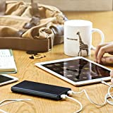 EasyAcc 10000mAh Power Bank Brilliant External Battery Pack Portable Charger for iPhone Samsung HTC Smartphones Tablets - Black and Gray