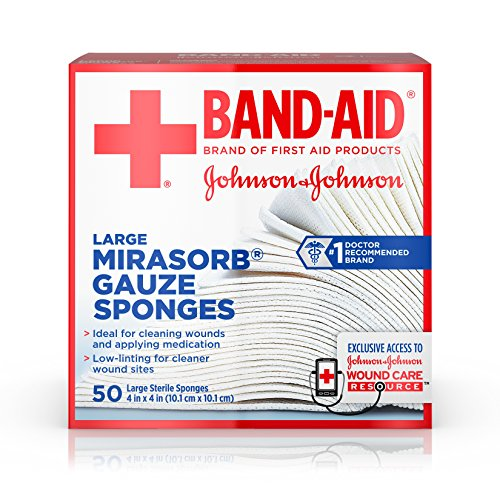 Band-Aid Brand Of First Aid Products Mirasorb Gauze Sponges For Cleaning Wounds, 4 Inches By 4 Inches, 50 Count (Wound Care Healing)
