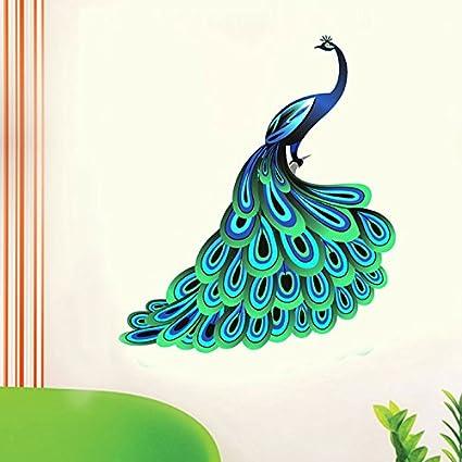 8bc02418b9e Buy Decals Design  Unique Blue Peacock  Wall Sticker (PVC Vinyl ...