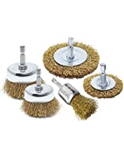 5pk Wire Brush Drill Attachments Kit, Brass Coated Bristles