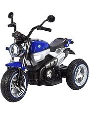 لعبة ركوب للاطفال دراجة نارية كهربائية باللونين الازرق والابيض