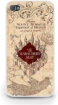 Coque pour iPhone 5S Motif la carte du maraudeur Harry Potter Blanc