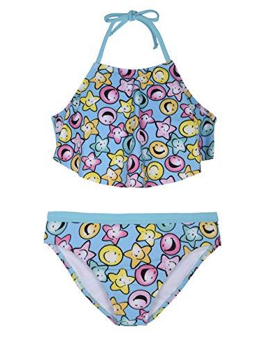 (Hilor Girl's Flutter Bikini Set Swimwear Flounce Two Piece Swimsuits High Neck Tankini Set Smiley Face XL/14-16)