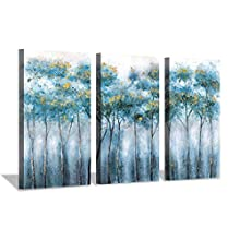Abstract Landscapes Arts Plant Artwork: Blue Forest Tree in Mist Morning Painting Print Multi-Piece Image on Canvas for Home Wall