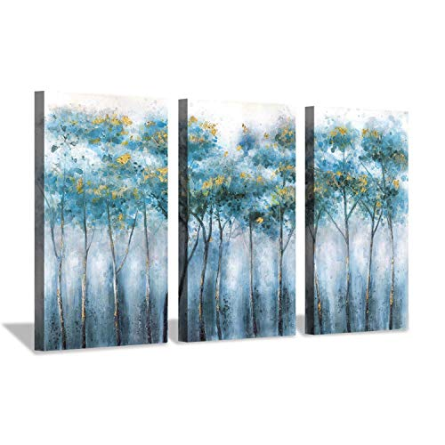 - Abstract Landscapes Arts Plant Artwork: Blue Forest Tree in Mist Morning Painting Print Multi-Piece Image on Canvas for Home Wall