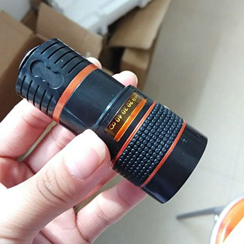 PLLP Mobile Phone Camera Telescope 8 Times Mobile Telescope Black and White Orange Circle Mobile Phone External Lens,Black